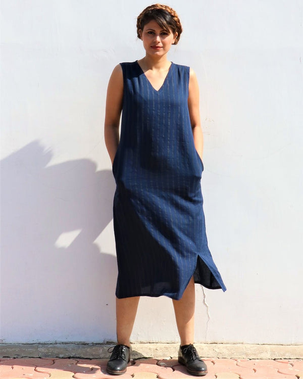 BLUE LUNA HANDPRINTED COTTON SILK SLEEVELESS DRESS