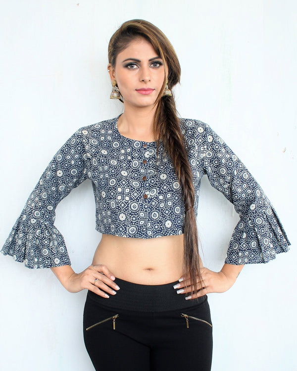 BLOCK PRINTED CROP TOP BLOUSE WITH BELL SLEEVES