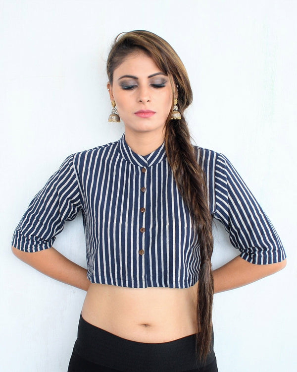 LINEN BLOCK PRINTED CROP TOP BLOUSE