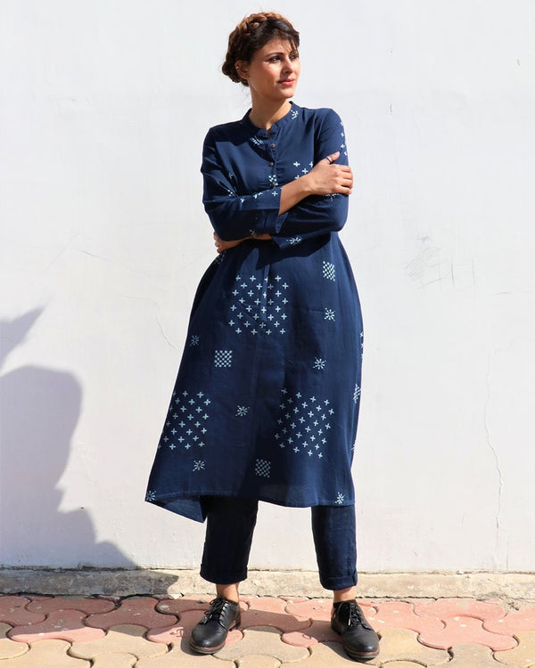 BLUE LUNA HANDPRINTED COTTON SILK KURTI