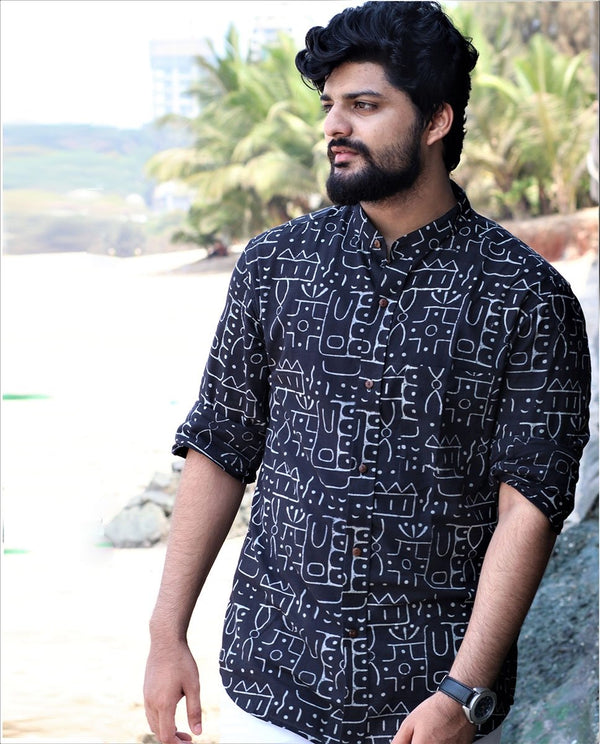 Black Blockprinted Cotton Shirt