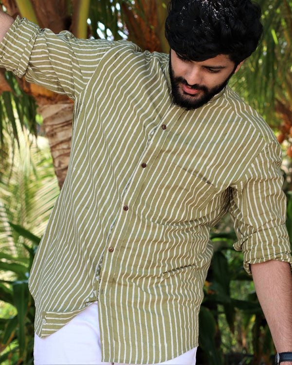 Olive Green Striped Cotton Shirt