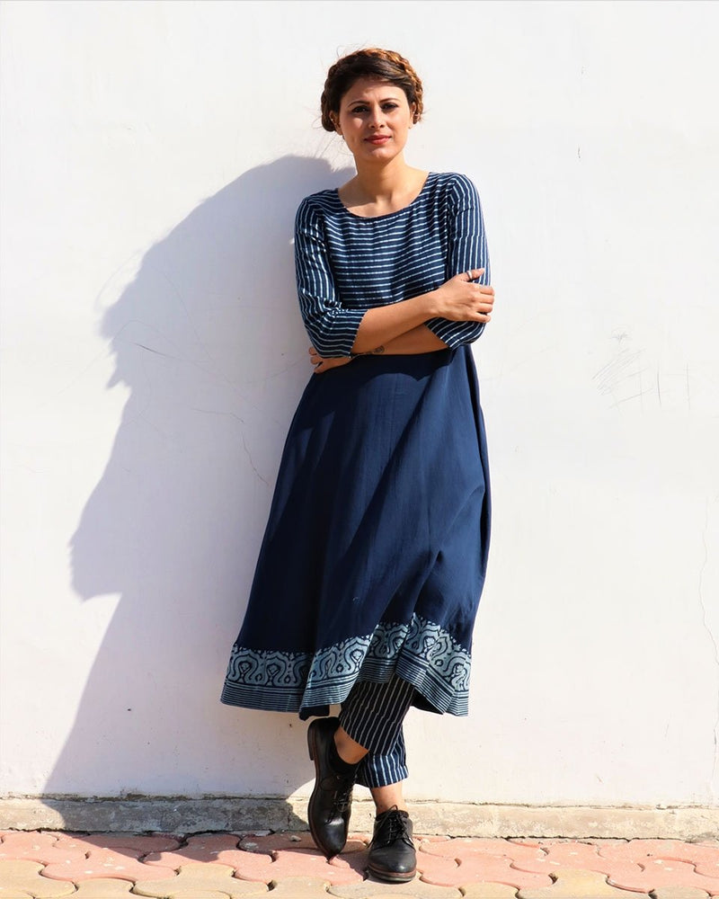 BLUE A LINE HANDPRINTED COTTON SILK KURTI