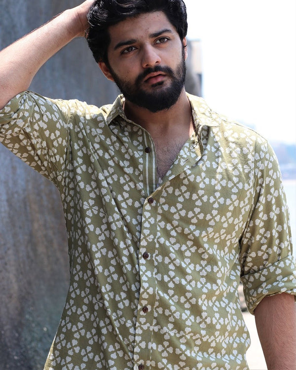Olive Jal Blockprinted Cotton Shirt
