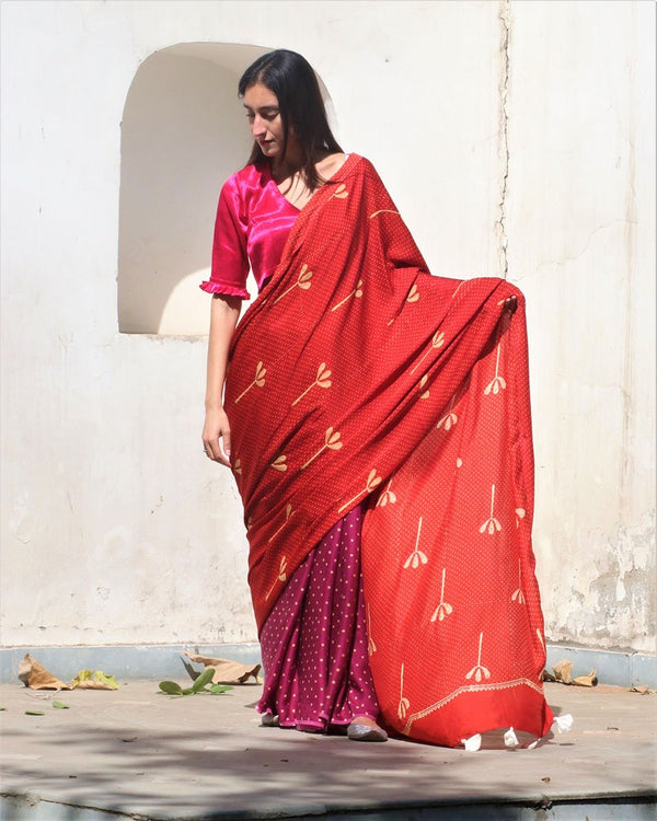 Red-Purple Block Printed Modal Silk Saree