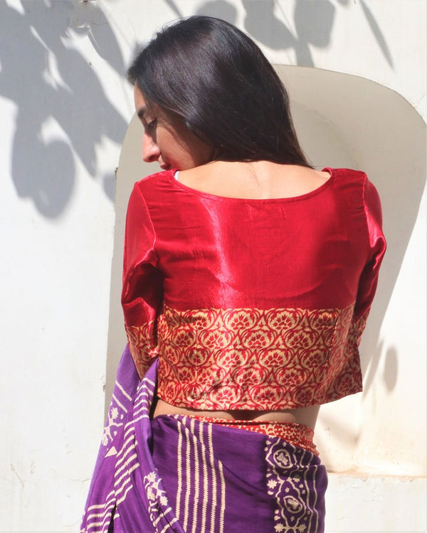 RED MASHRU CROP TOP