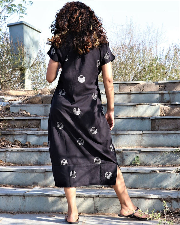 Black Moon Blockprinted Dress