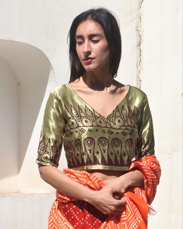 SAB GREEN OVERLAP BLOCK PRINTED CROP TOP BLOUSE IN MASHRU SILK