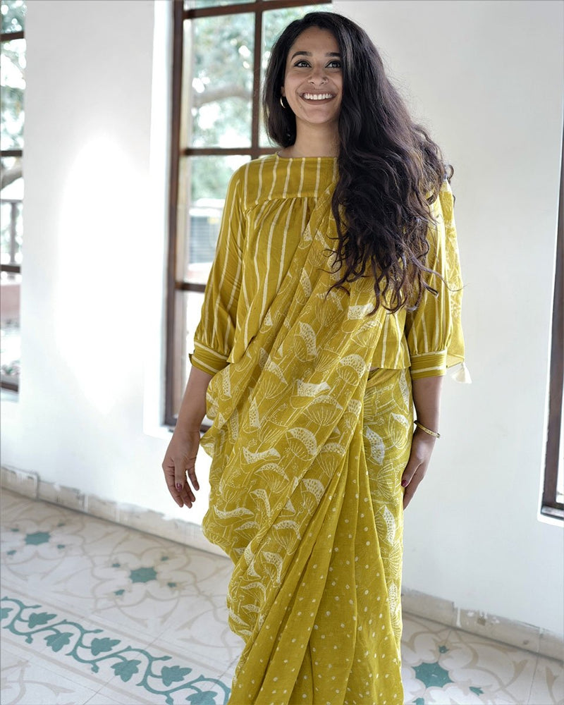 Yellow  Jal Printed Pure Handwoven Linen Saree