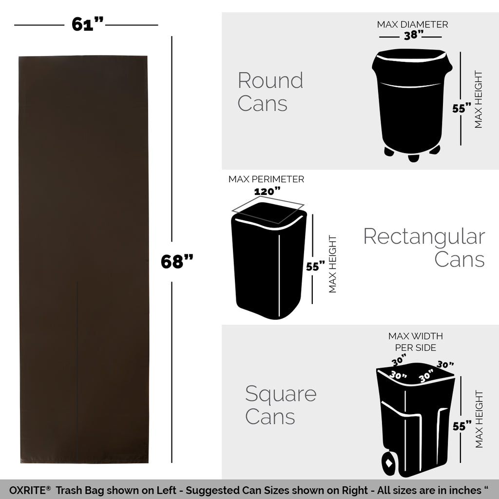100 Black Trash Bags - 95 GAL, 1.5 MIL - Free Shipping
