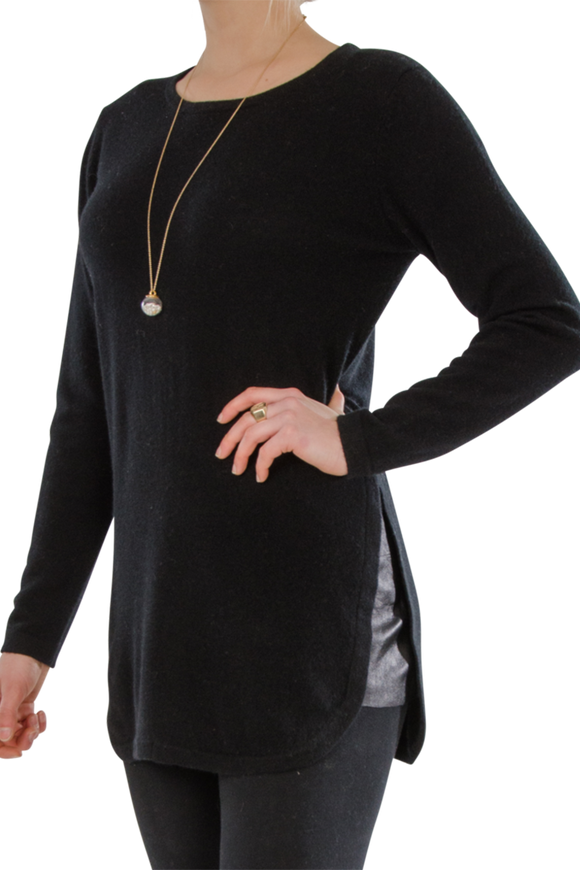 Cortland Park Black Leather Tunic