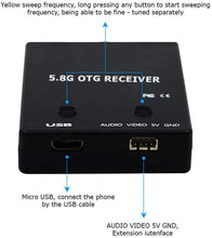Load image into Gallery viewer, ROTG01 PRO Edition FPV Receiver UVC OTG 5.8G 150CH Full Channel FPV Receiver Android with Audio for Mobile Android Smartphone - Black
