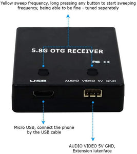 ROTG01 PRO Edition FPV Receiver UVC OTG 5.8G 150CH Full Channel FPV Receiver Android with Audio for Mobile Android Smartphone - Black