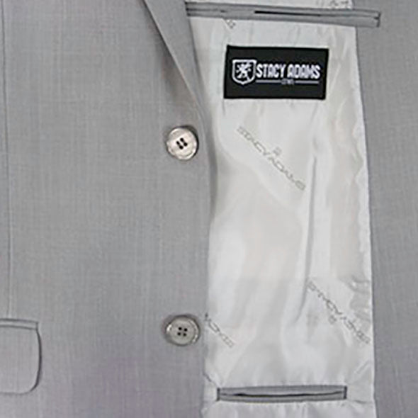 Stacy Adams 3 Piece Vested Solid Gray Suit