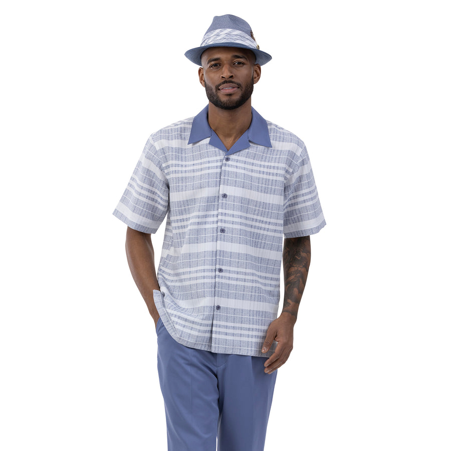 Montique Men's Walking Leisure Suit 2 Piece Set Slate Stripe