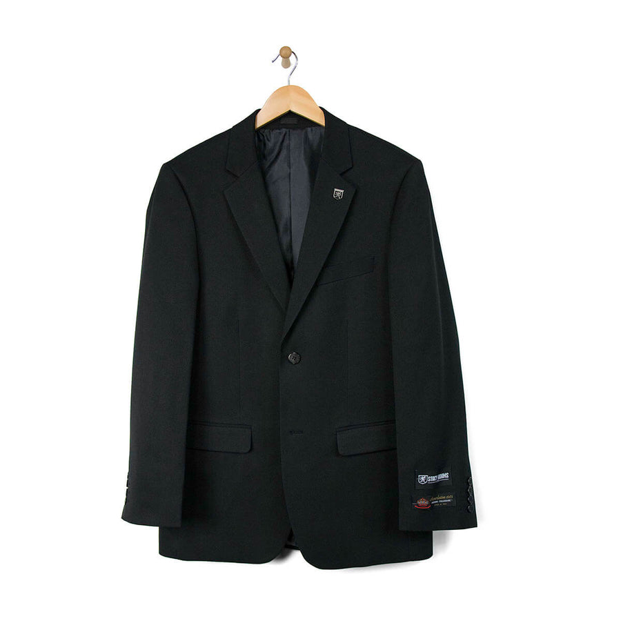 Stacy Adams 3 Piece Vested Solid Black Suit