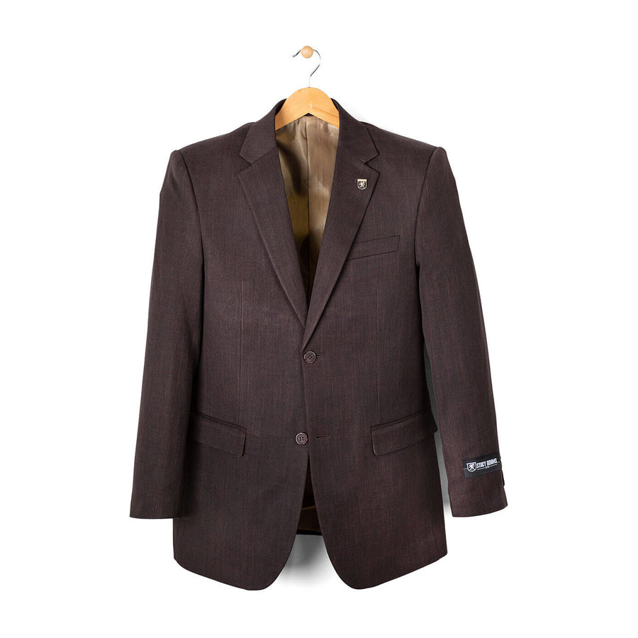 Stacy Adams 3 Piece Vested Solid Brown Suit