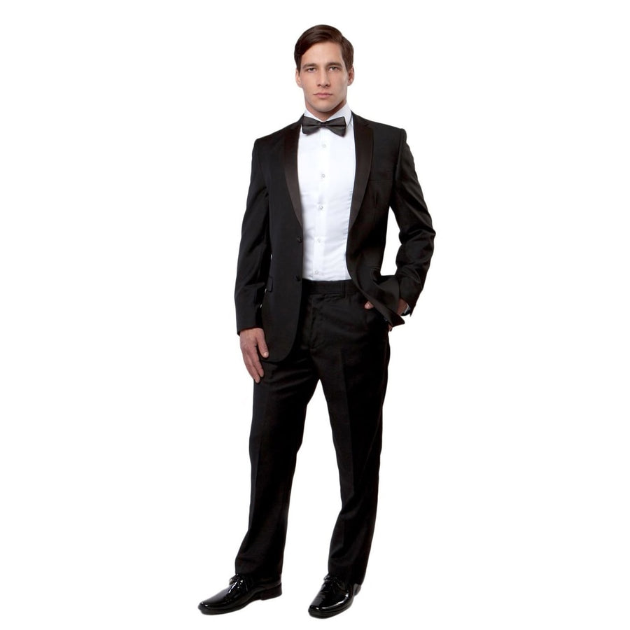 Bryan Michaels Slim Fit Notch Lapel Black Tuxedo