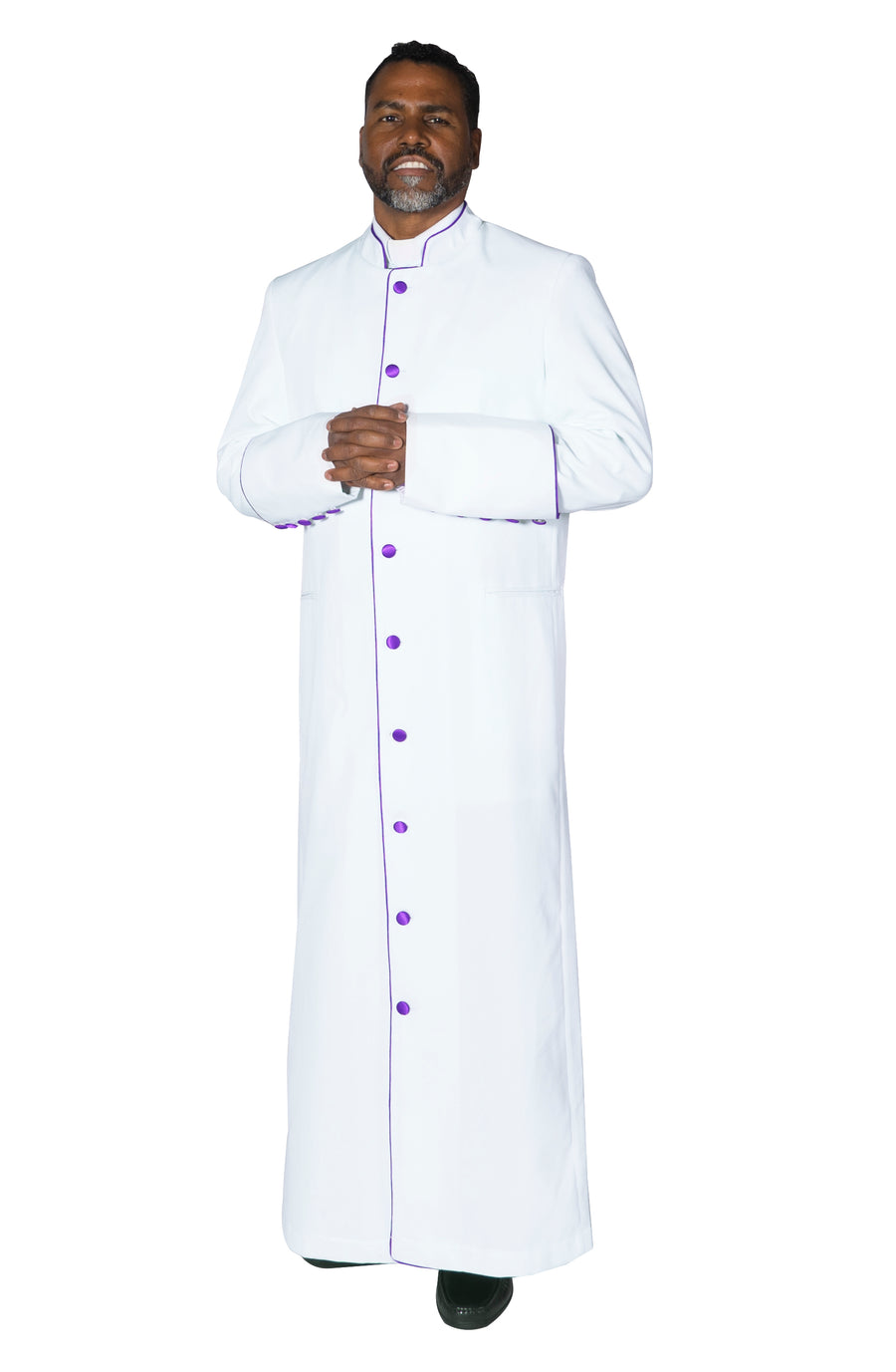 MENZ Clergy Robe Cassock Vestment for Pastor White/Purple