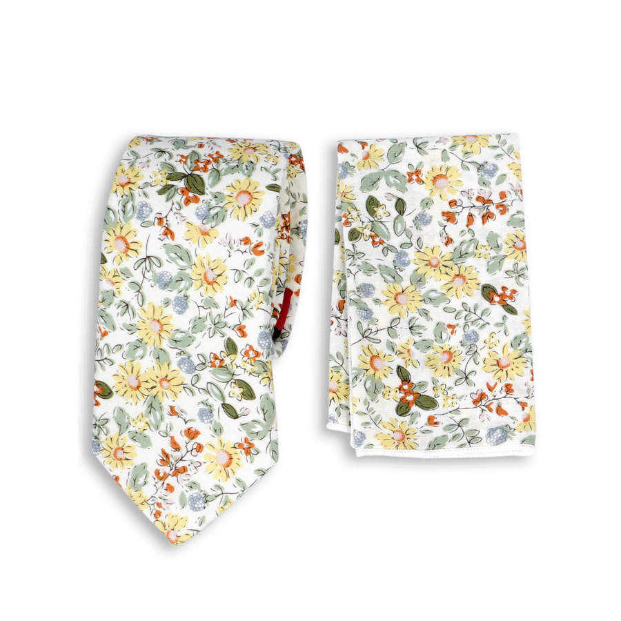 Brand Q Skinny Floral Tie with Pocket Square Handkerchief