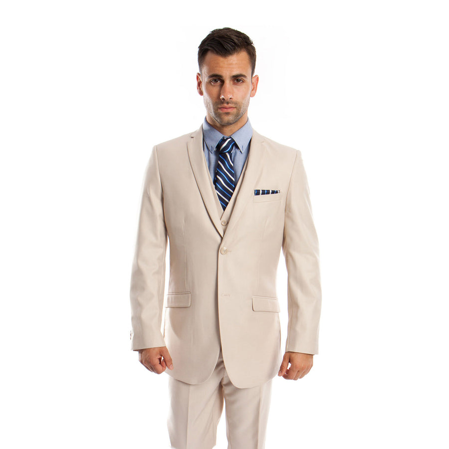 Tazio 3 Piece Solid Slim Fit Beige Suit