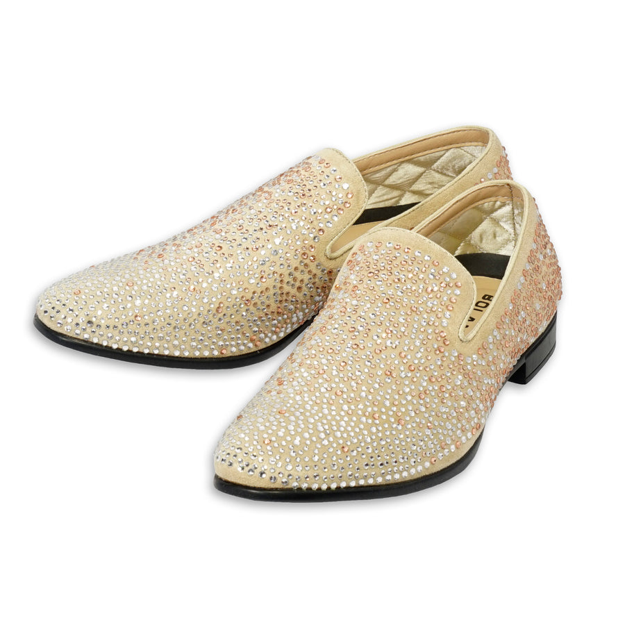 Bolano Snyder Smoking Slip-on-Loafer Tuxedo Shoe Glitter Champagne