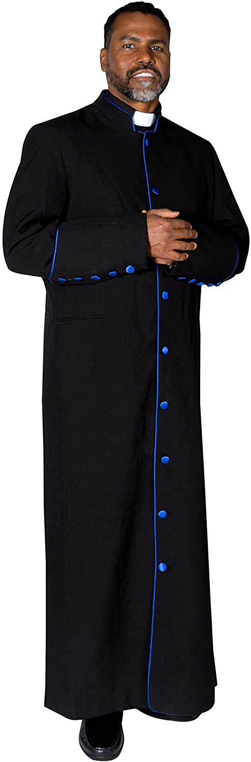 MENZ Clergy Robe Cassock Vestment for Pastor Black/Royal Blue