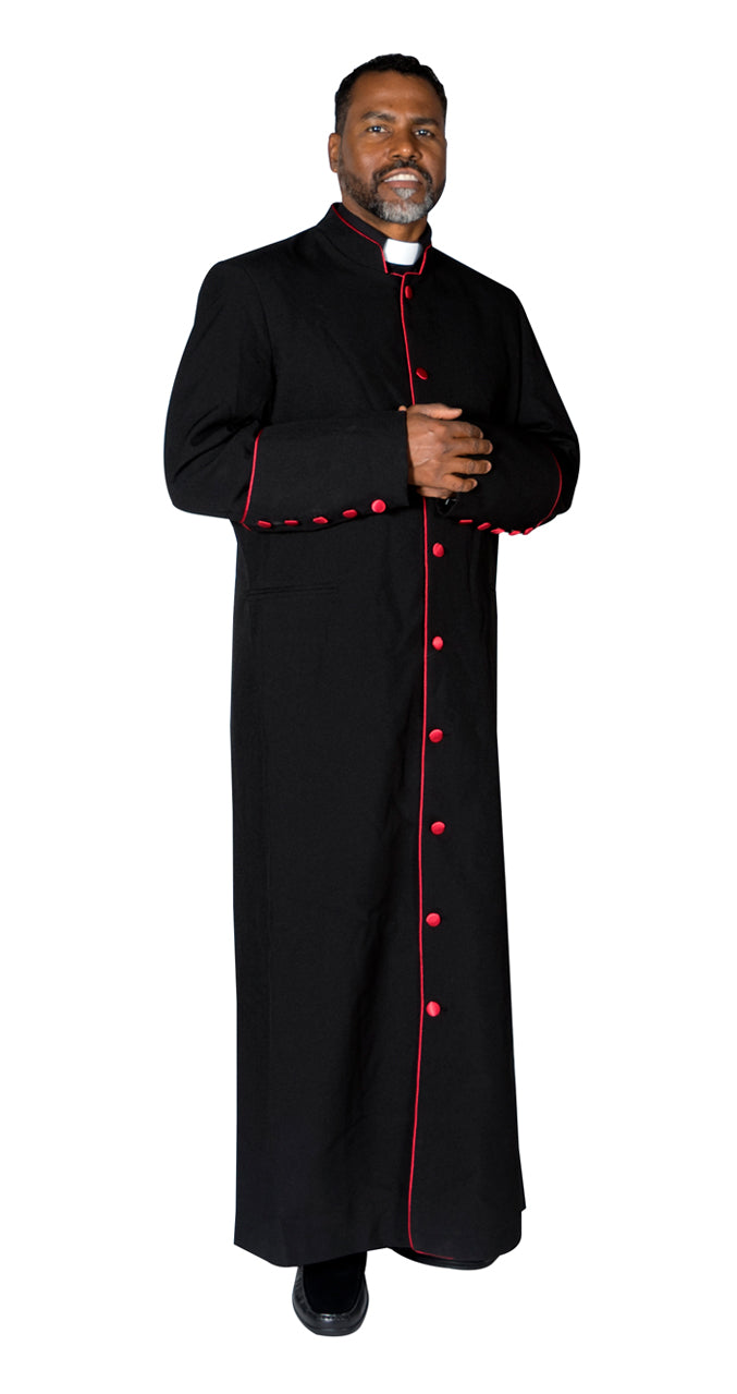 MENZ Clergy Robe Cassock Vestment for Pastor Black/Red