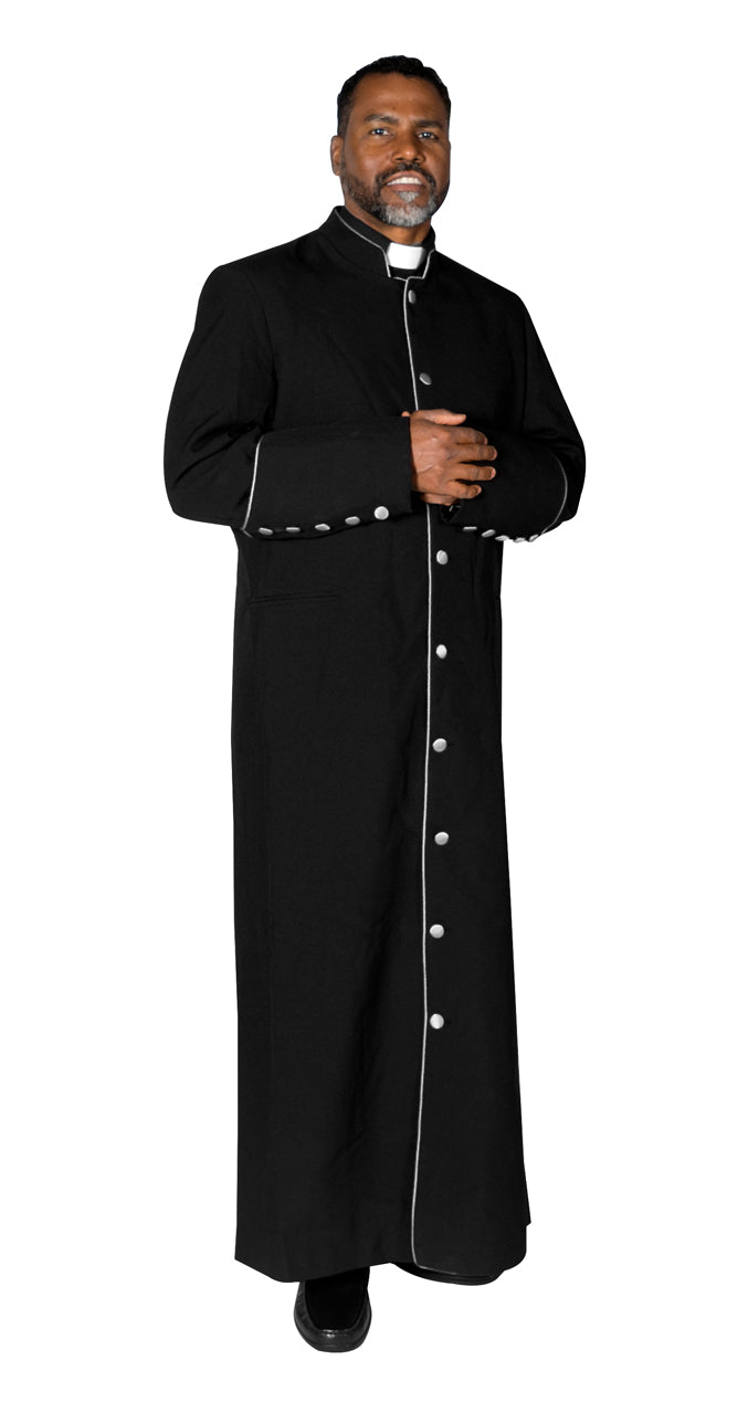 MENZ Clergy Robe Cassock Vestment for Pastor Black/White