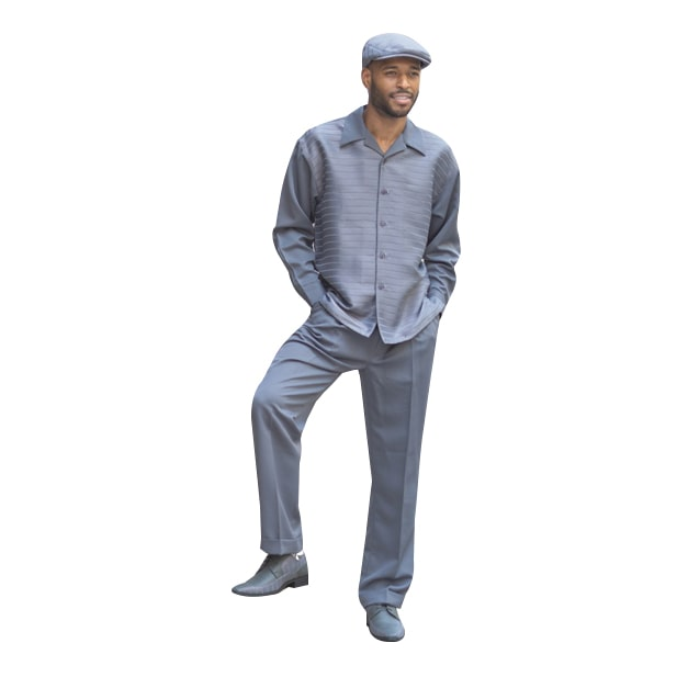 Montique Men's Walking Leisure Suit 2 Piece Set Solid Stripe