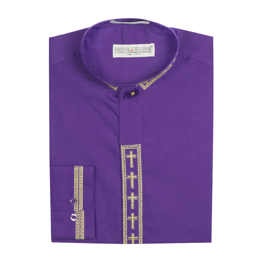 Daniel Ellissa Mens Clergy Shirt Long Sleeve Cross Placket Purple/Gold