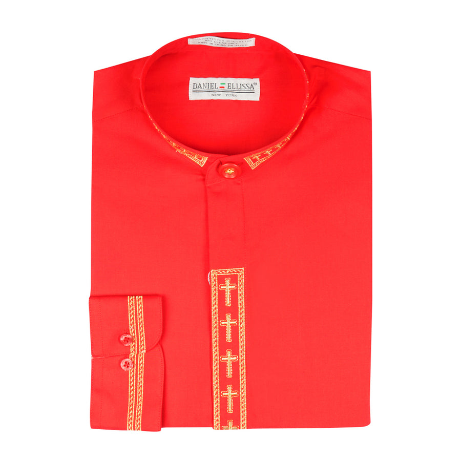 Daniel Ellissa Mens Clergy Shirt Long Sleeve Cross Placket Red/Gold