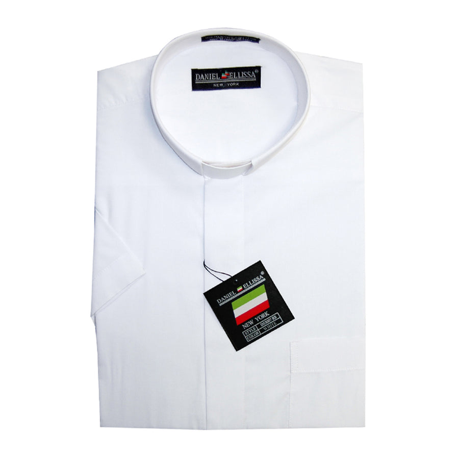Daniel Ellissa Clergy Shirt Tab Collar with Short Sleeves White