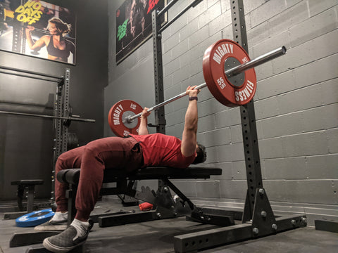 Mighty Fitness Staff Bench Pressing - Competition Bumper Plates