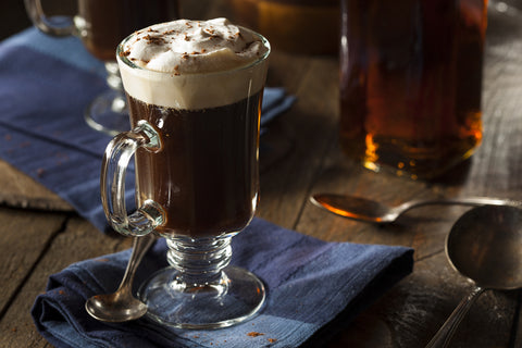 Irish Coffee Recipes, Whiskey, Brown Sugar and whipped cream.