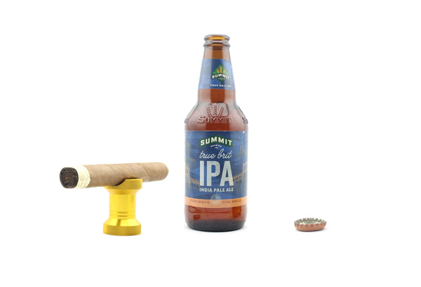 Beer bottle opener and cigar stand