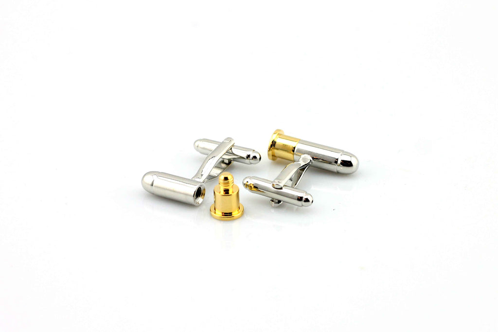 cufflinks made from stainless steel bullet shaped