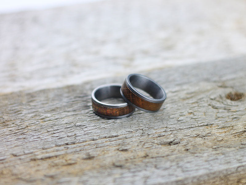 Titanium Ring With Whisky Barrel Wood Inlay Sipdark