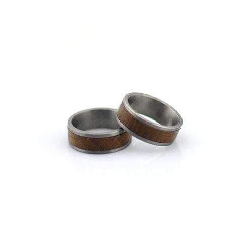 Titanium Ring With Whisky Barrel Wood Inlay