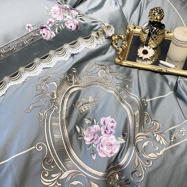 Embroidery Egyptian cotton bedding duvet cover set