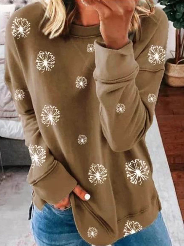 Casual Long Sleeve Cotton Round Neck Shirts & Tops