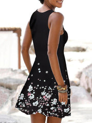 Black Holiday Casual Seaside Floral Sleeveless Crew Neck A-Line Dresses