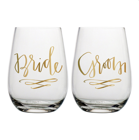 Bride & Groom Wine Set of 2