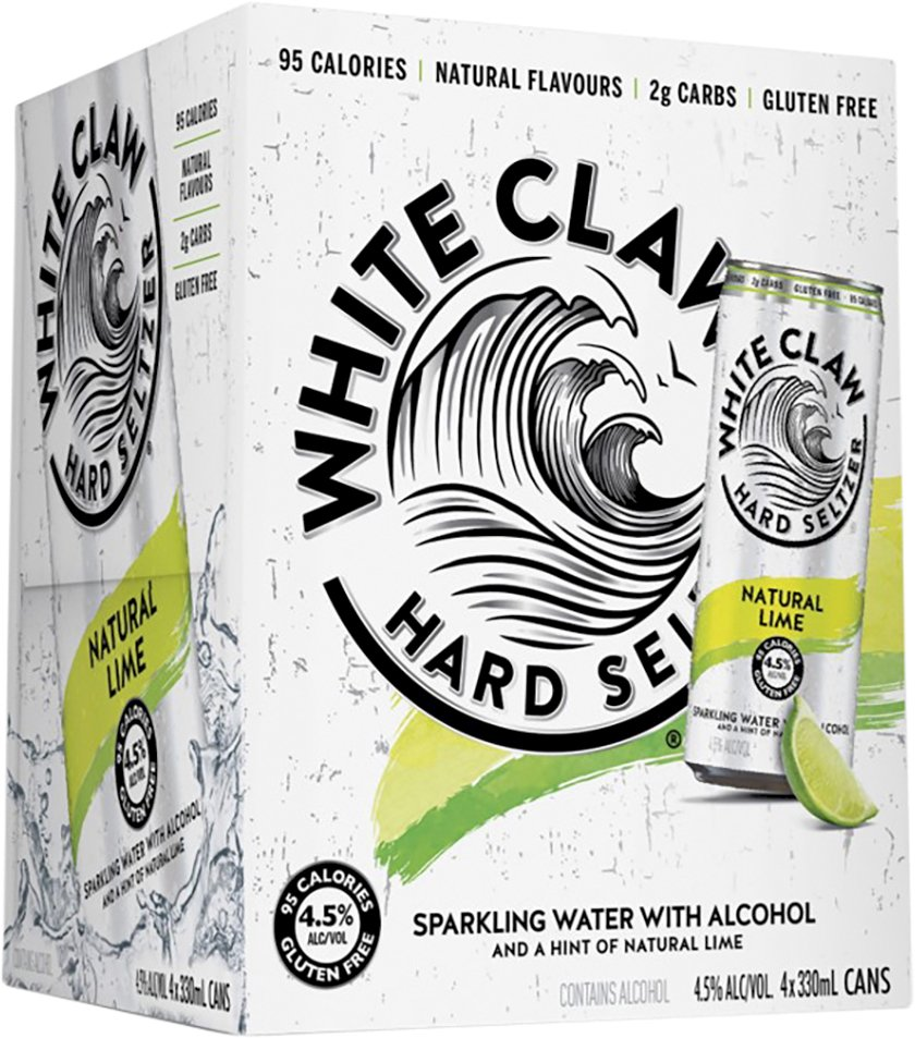 White Claw Natural Lime 4 Pack 33cl Can