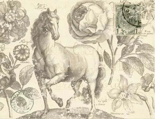 Botanical Equine Decoupage Paper
