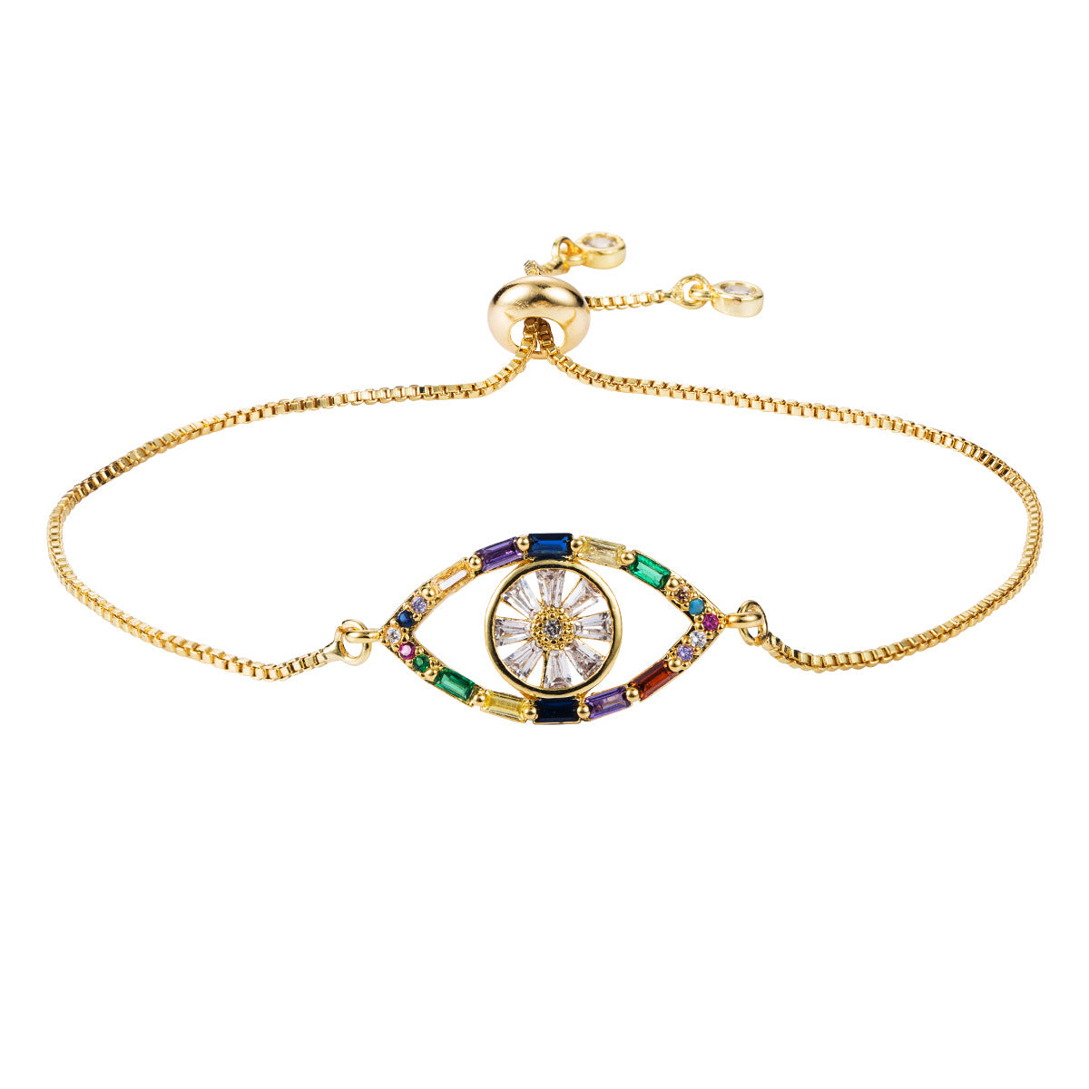 Awaken Eye Multi-Color Gold Bracelet