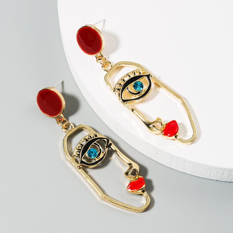 Eyes On Me Burgundy Red Gold Earrings
