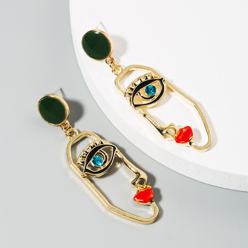 Eyes On Me Forest Green Gold Earrings