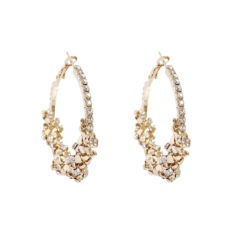 Buy beautiful Crushed Gold Gemstone Hoop Earrings - AWKN Jewelry's