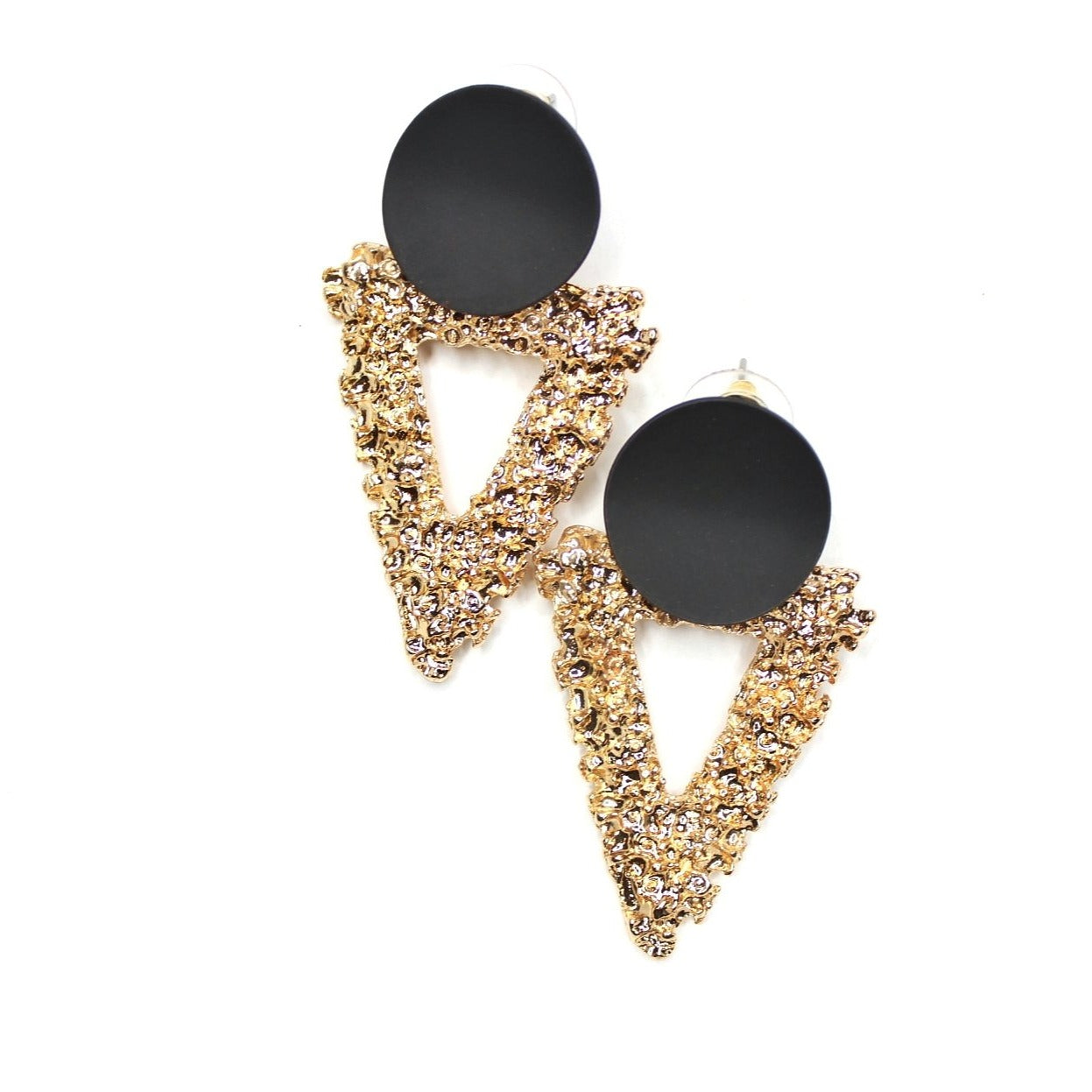 Buy beautiful Black and Gold Textured Triangle Earrings - AWKN Jewelry's